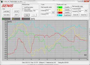 テスラメーター/ガウスメーターソフトウェア画面